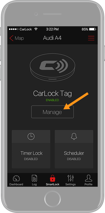 Manage the CarLock Tag